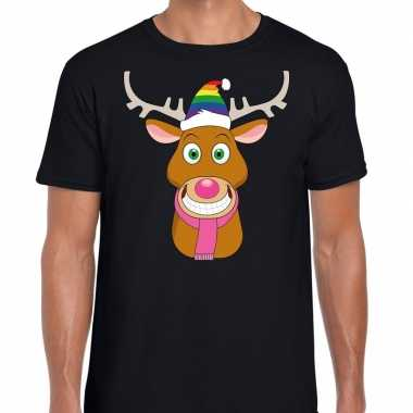 Foute kerst t shirt gay rudolf rendier zwart heren