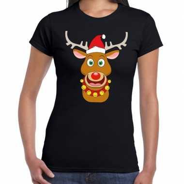 Foute kerst t shirt kerstman rendier rudolf zwart dames