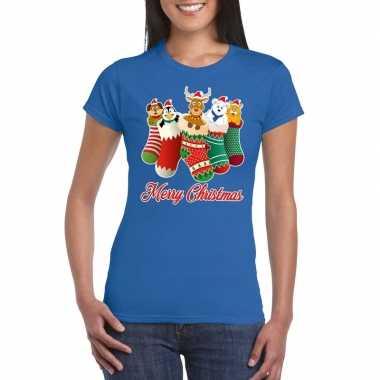 Foute kerst t shirt kerstsokken merry christmas blauw dames