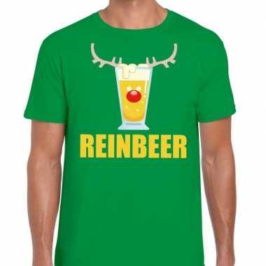 Foute kerst t shirt reinbeer groen heren