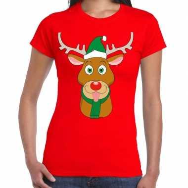 Foute kerst t shirt rendier rudolf groene kerstmuts rood dames