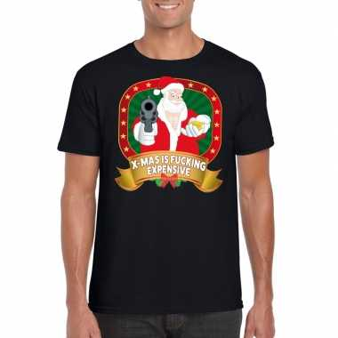 Foute kerstmis shirt zwart x mas is fucking expensive mannen