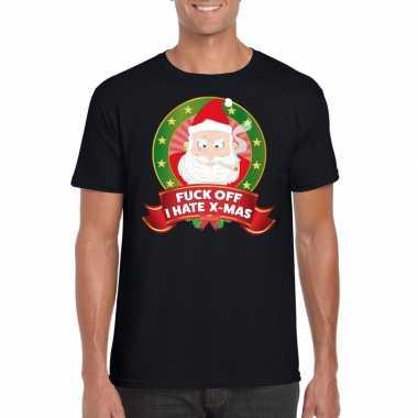 Foute kerstmis shirt zwart fuck off i hate x mas mannen