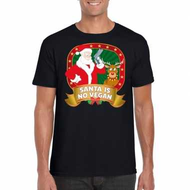 Foute kerstmis shirt zwart santa is no vegan mannen