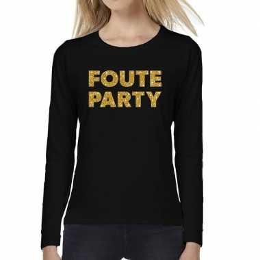 Foute party goud glitter t shirt long sleeve zwart dames