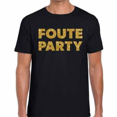 Foute party gouden glitter tekst t shirt zwart heren