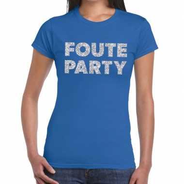 Foute party zilveren glitter tekst t shirt blauw dames