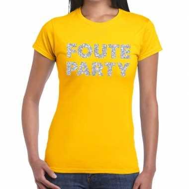 Foute party zilveren glitter tekst t shirt geel dames