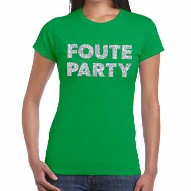 Foute party zilveren glitter tekst t shirt groen dames