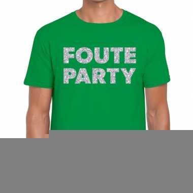 Foute party zilveren glitter tekst t shirt groen heren
