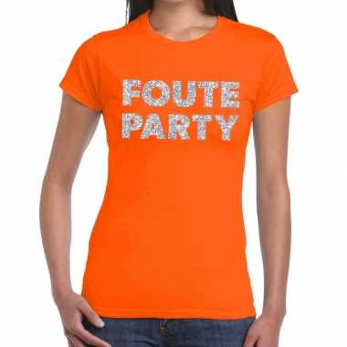 Foute party zilveren glitter tekst t shirt oranje dames