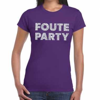 Foute party zilveren glitter tekst t shirt paars dames
