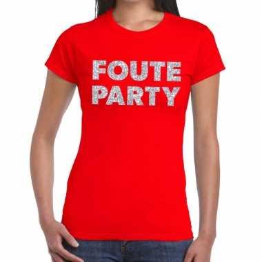Foute party zilveren glitter tekst t shirt rood dames