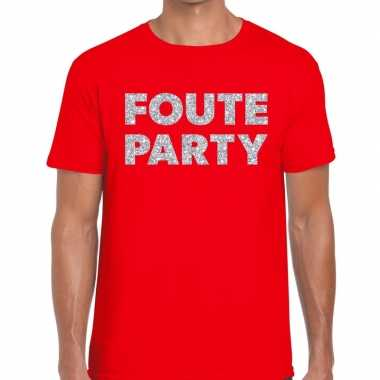 Foute party zilveren glitter tekst t shirt rood heren