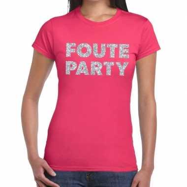 Foute party zilveren glitter tekst t shirt roze dames