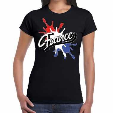 France/frankrijk t shirt spetter zwart dames