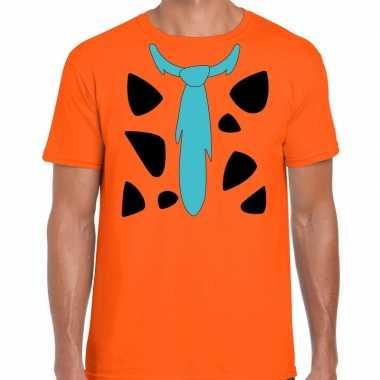 Fred holbewoner kostuum t shirt oranje heren