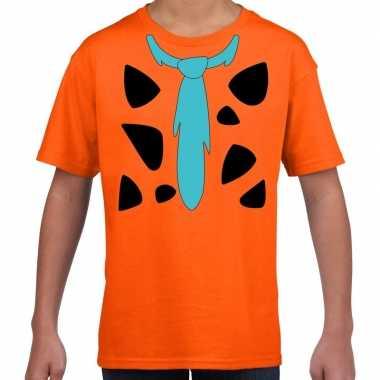 Fred holbewoner kostuum t-shirt oranje kinderen