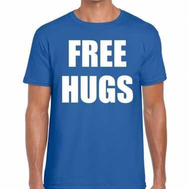 Free hugs tekst t shirt blauw heren