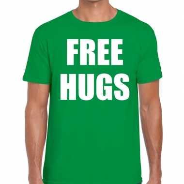 Free hugs tekst t shirt groen heren