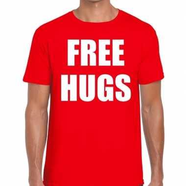 Free hugs tekst t shirt rood heren