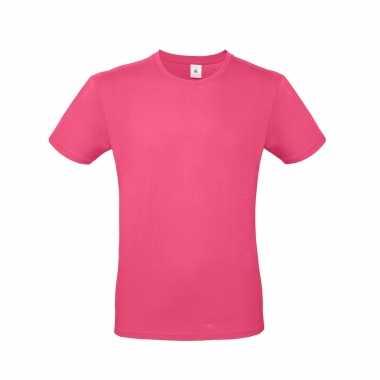 Fuchsia roze basic t shirt ronde hals heren katoen