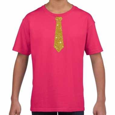 Fuchsia roze shirt gouden stropdas bedrukking