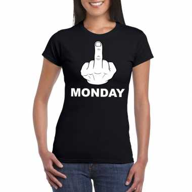 Fuck monday t shirt zwart dames