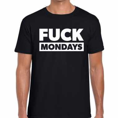 Fuck mondays tekst t shirt zwart heren