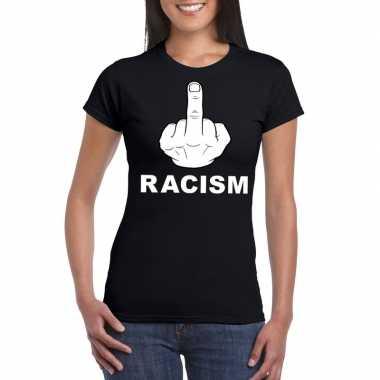 Fuck racism t shirt zwart dames