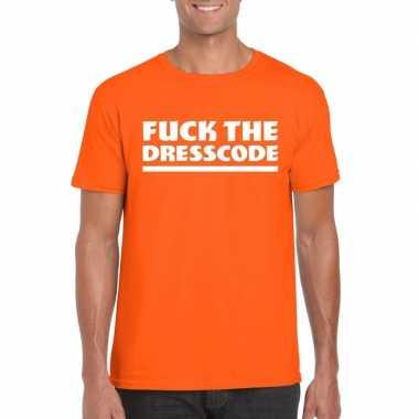 Fuck the dresscode heren t shirt oranje