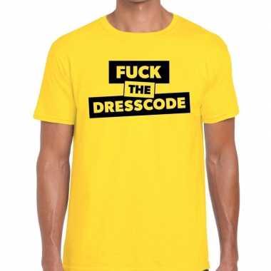 Fuck the dresscode tekst t shirt geel heren