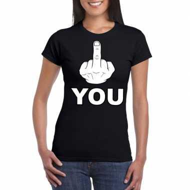Fuck you t shirt zwart dames