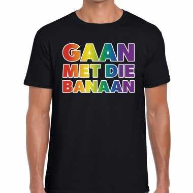 Gaan die banaan gaypride shirt zwart heren