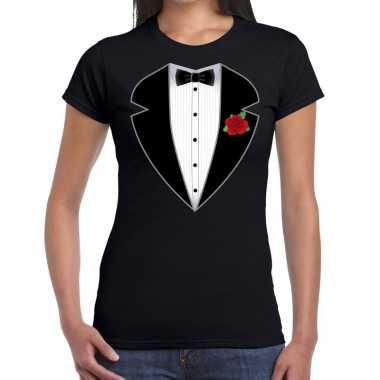 Gangster / maffia pak kostuum t shirt zwart dames