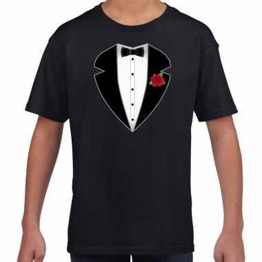 Gangster maffia pak kostuum t-shirt zwart kinderen