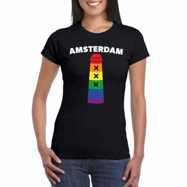 Gay pride amsterdammertje shirt zwart dames