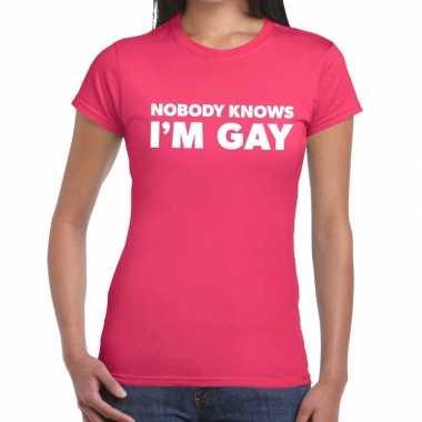 Gay pride nobody knows i am gay t shirt roze dames