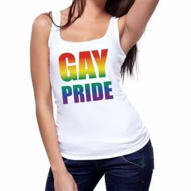 Gay pride tanktop / mouwloos shirt wit dames