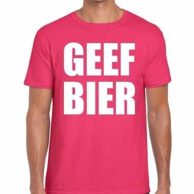 Geef bier t shirt roze heren