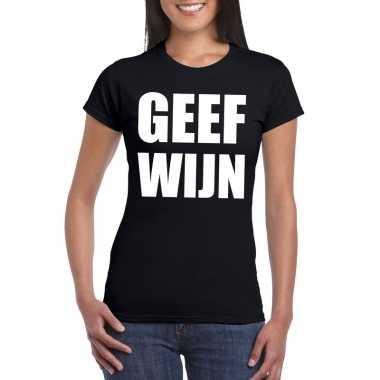 Geef wijn dames t shirt zwart