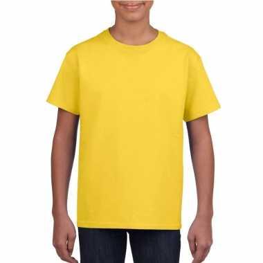 Geel basic t shirt ronde hals kinderen / unisex katoen