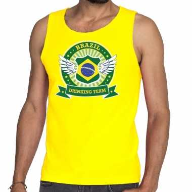 Geel brazil drinking team tanktop / mouwloos shirt heren