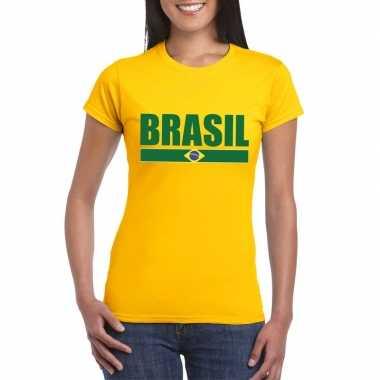 Geel brazilie supporter t shirt dames
