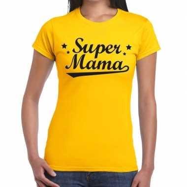 Geel cadeaushirt moeders super mama bedrukking