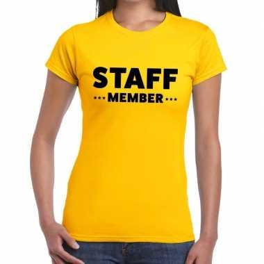 Geel crew shirt staff member bedrukking dames