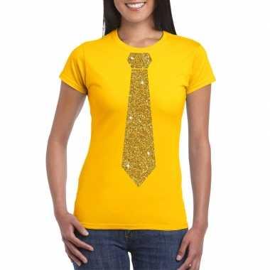Geel fun t shirt stropdas glitter goud dames