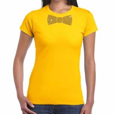 Geel fun t shirt vlinderdas glitter goud dames
