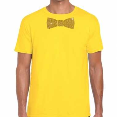 Geel fun t shirt vlinderdas glitter goud heren