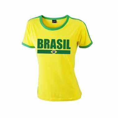 Geel/ groen brazilie supporter ringer t shirt dames